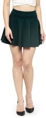 N-Gal Solid Women Flared Dark Green Skirt