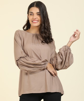 AND Casual Balloon Sleeve Solid Women Beige Top