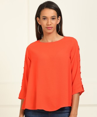 AND Casual 3/4 Sleeve Solid Women Orange Top