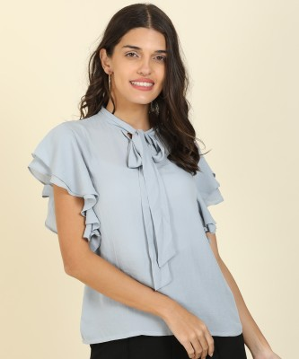 AND Casual Ruffled Sleeve Solid Women Grey Top