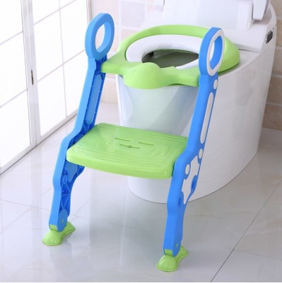 NIRVA Potty Training Seat for Potty Training Step Trainer Ladder Toilet Training Potty Seat In Non-Slip Steps soft Cushion Pad for Baby Boys Girls In Blue Color Potty Seat