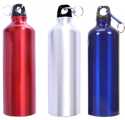 Tuelip Aluminium Durable Sports Water Bottle For College,School Bottle 750 ML With Carabiner Pack Of 3 (Silver, Red & Blue) 750 ml Water Bottles
