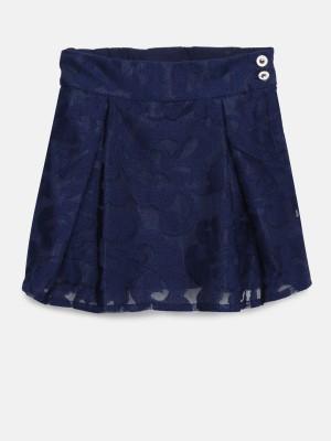 Peppermint Applique Girls Flared Dark Blue Skirt