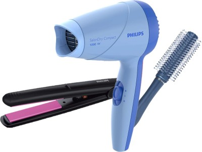 Philips Hair Dryer 8142 + Straightener 8302 with Hair Brush Personal Care Appliance Combo