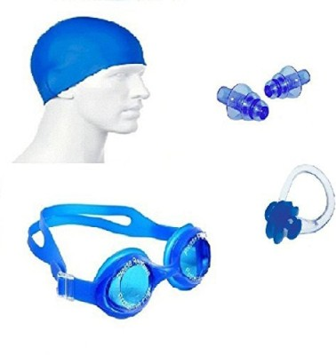 Kyachaiyea Swimming Kit (Silicon Cap, Silicon Ear Plug, Swimming Nose Clip, Swimming Goggles) Swimming Kit