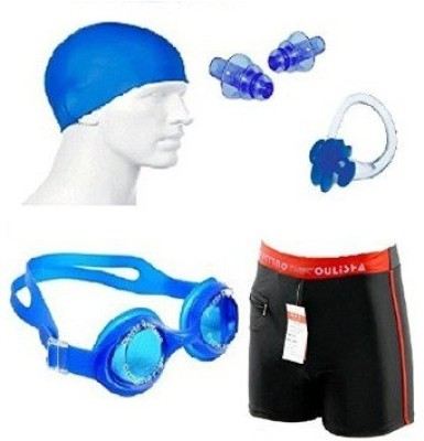 Kyachaiyea Swimming Kit (Silicon Cap, Silicon Ear Plug, Swimming Nose Clip, Swimming Goggles With Authentic Men Adult Swim Trunks Boxer Nylon Swimming Kit