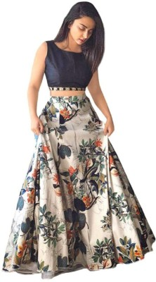 Ambe Fashion Printed Semi Stitched Lehenga & Crop Top