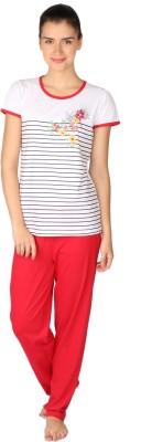 Lazy Dazy Women's Striped, Printed White, Red Top & Pyjama Set