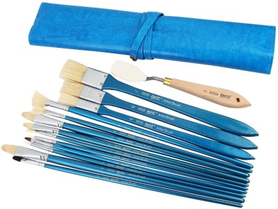 Bianyo Synthetic Paint Brush Set & 1 Palette Knife in Leather Wrap Carrying Case