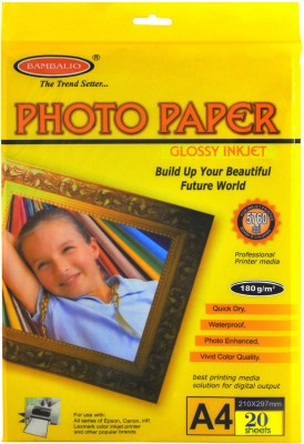 Bambalio Glossy Photo Paper 180 GSM , 20 Sheets A4 Photo Paper