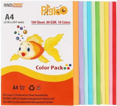 Pigloo Premium Range 100 Sheets. 10 Colour. 80GSM Unrulled A4 Coloured Paper