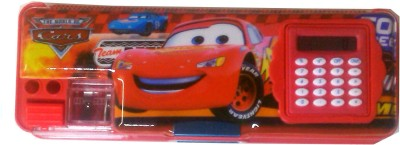 Karta Red Car With Calculator & Dual Sharpner Art Plastic Pencil Box