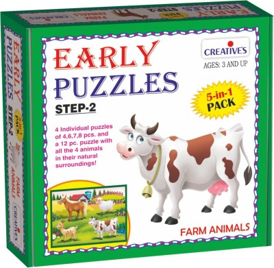 Creatives Early Puzzles Step 2 – Farm Animals (5 in 1 puzzles for ages 3 & above)