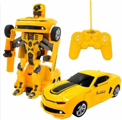 Gift World RC Transformation Toys One key Remote Control Car Bumblebee 360 Rotation