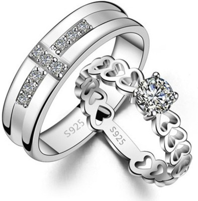 Yellow Chimes Love Birds Proposal Alloy Cubic Zirconia Rhodium Plated Ring Set