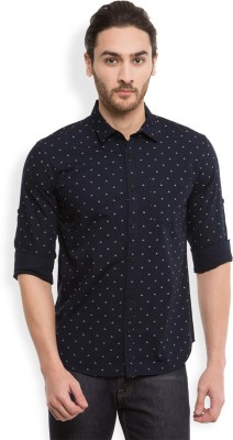Highlander Men's Printed Casual Dark Blue Shirt