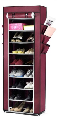 Pindia Fancy 10 Layer Maroon Shoe Rack Organizer Polyester Collapsible Shoe Stand