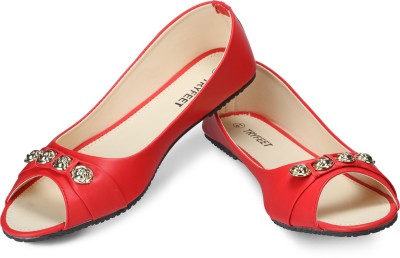 Tryfeet Red Open Toe Bellies For Women