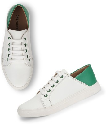 Chemistry White Contrast Back Sneakers For Women