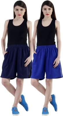 Dee Mannequin Self Design Women Dark Blue, Blue Sports Shorts