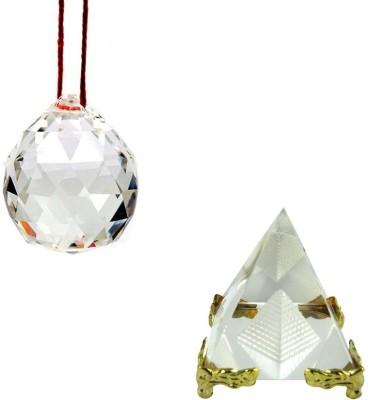 Shakti Education Pyramid and Crystal Ball For Academic Success Decorative Showpiece  -  5 cm