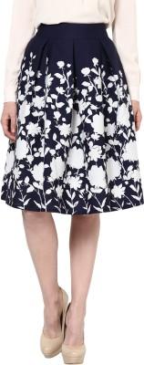 Harpa Floral Print Women's A-line Blue Skirt