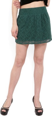 MANGO Self Design Women's Straight Green Skirt