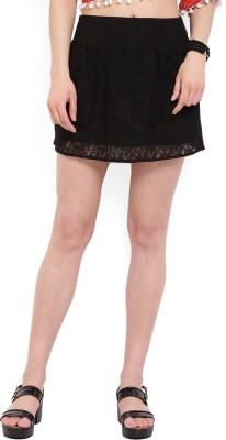 MANGO Self Design Women's Tube Black Skirt