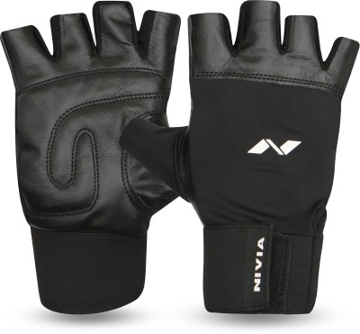 Nivia Leather with Wrist Band Gym & Fitness Gloves (L, Multicolor)