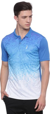 Campus Sutra Printed Men Polo Neck Blue, White T-Shirt