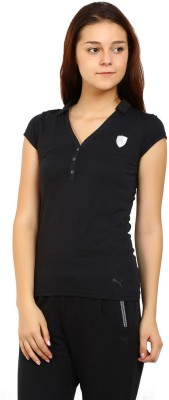 Puma Solid Women V-neck Black T-Shirt