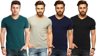 Tripr Solid Men V-Neck Green, Grey, Black, Dark Blue T-Shirt
