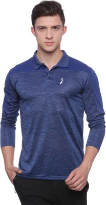 Campus Sutra Solid, Self Design Men Polo Neck Blue T-Shirt
