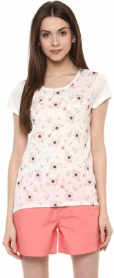 Honey By Pantaloons Printed Women's Round Neck Multicolor T-Shirt