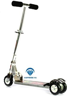 SAPPHIRE SA Sapphire SA Heavy Metallic Big Size 3 Wheel Height Adjustable Kids Folding Scooter - Silver