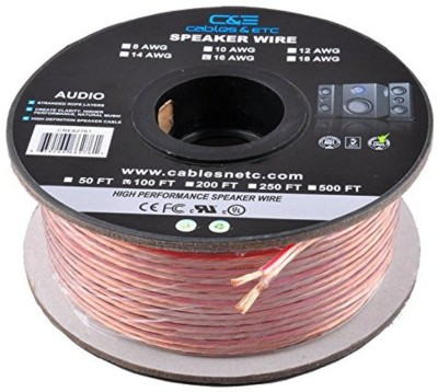 C&E  TV-out Cable 100 Feet 16AWG Enhanced Loud Oxygen-Free Copper Speaker Wire Cable
