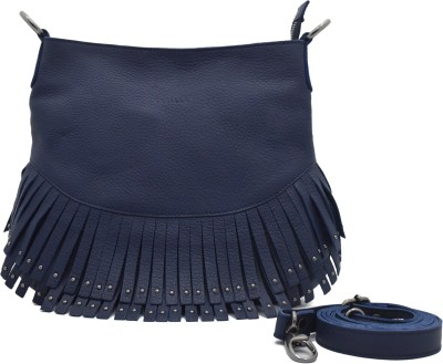 Cecille Women Casual Blue Genuine Leather Sling Bag