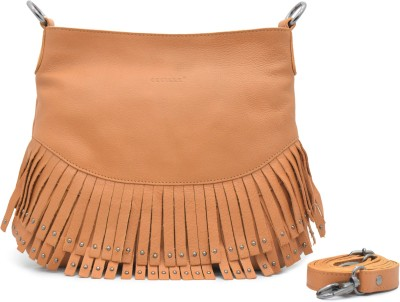 Cecille Women Casual Tan Genuine Leather Sling Bag