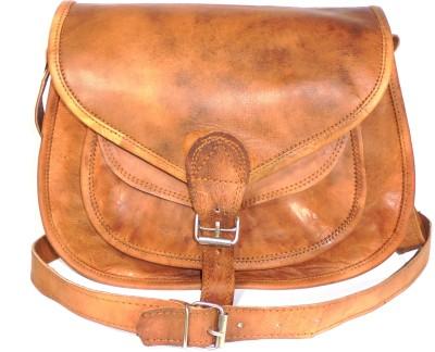 Adimani Boys, Girls Casual Brown Genuine Leather Sling Bag