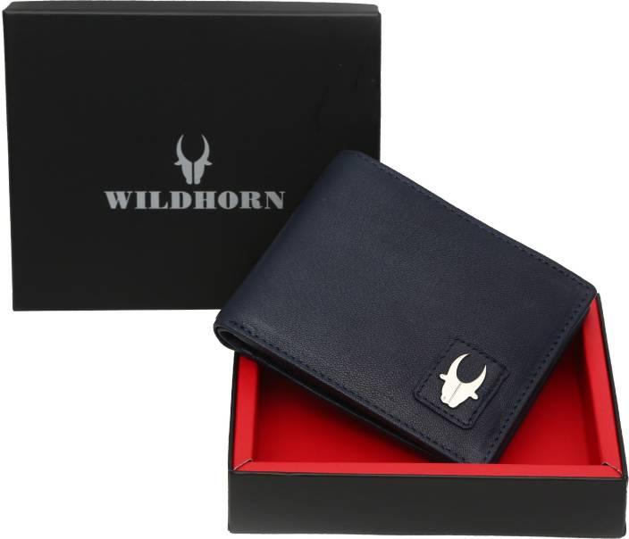 WildHorn Men Casual Blue Genuine Leather Wallet