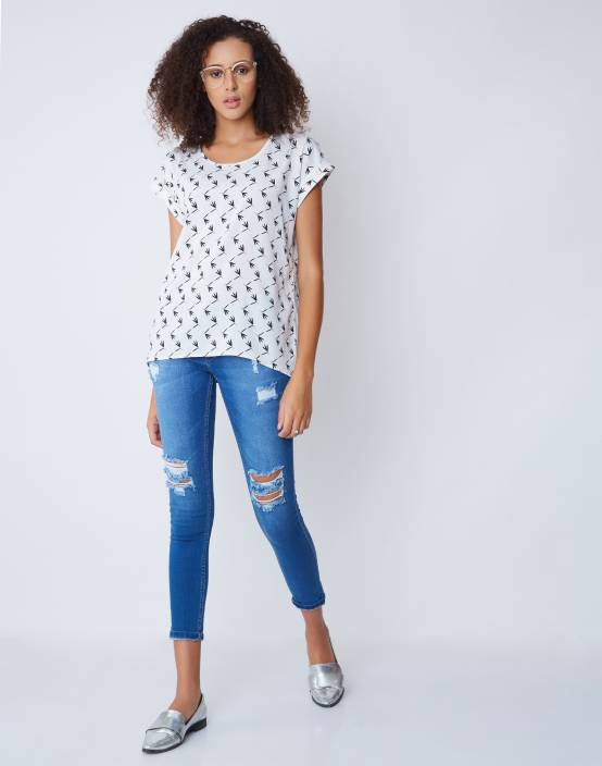 Provogue Casual Short Sleeve Floral Print Women White Top