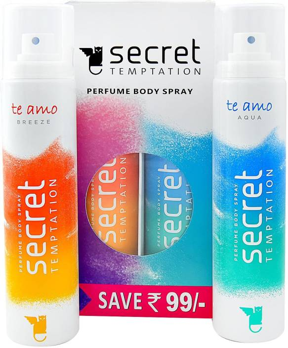 Secret Temptation Te Amo Aqua and Breeze Combo (120 ml x 2) Body Mist - For Women