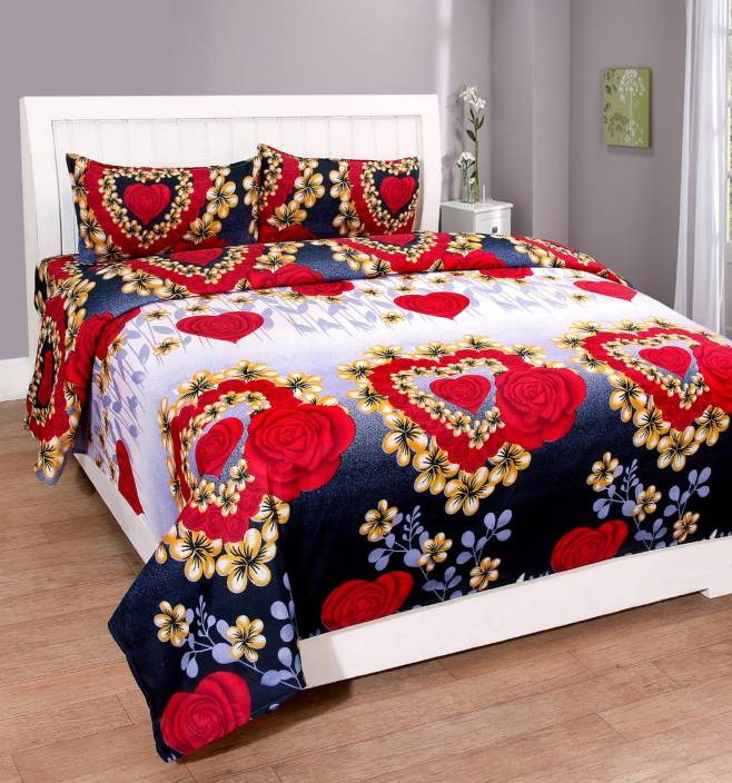 PahwaCollection 144 TC Polycotton Double 3D Printed Bedsheet