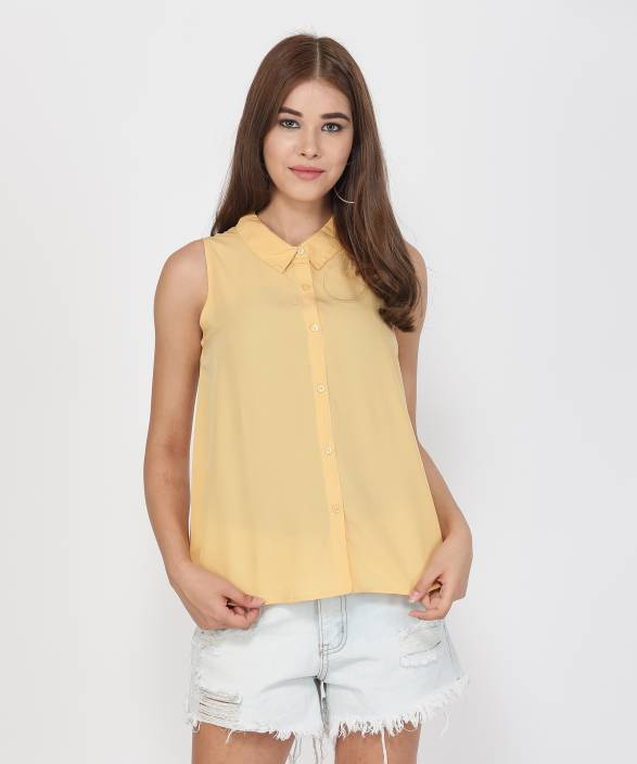 Provogue Casual Sleeveless Solid Women's Yellow Top