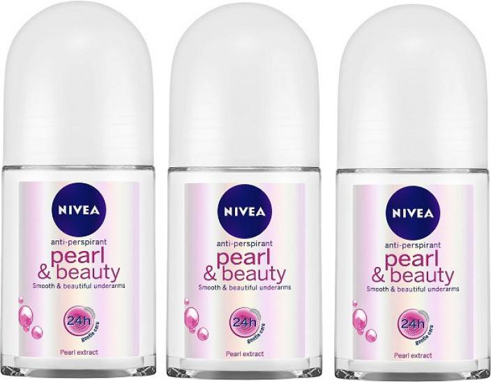 Nivea Pearl & Beauty Roll On 50 ml - Pack of 3 Body Spray - For Women