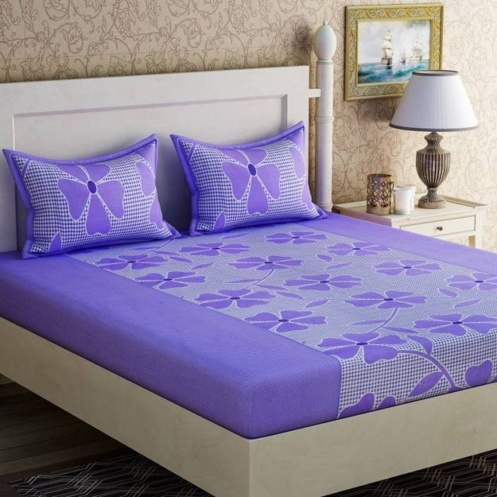 Sheethub 144 TC Cotton Double Floral Bedsheet