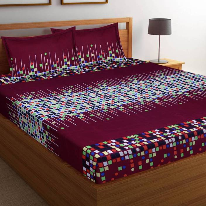 Home Pictures 144 TC Microfiber Double Printed Bedsheet