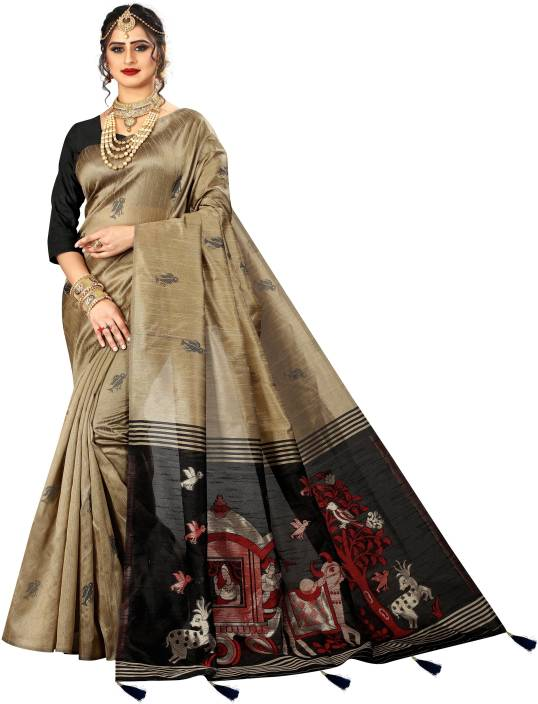 Being Banarasi Solid, Woven, Self Design, Embellished Banarasi Jacquard, Cotton Silk Saree