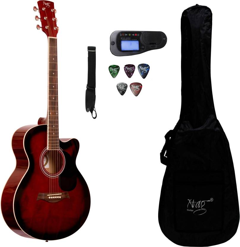 xtag x 40c inbuilt tuner red black 40 inches mahogany acoustic guitar best price in india xtag. Black Bedroom Furniture Sets. Home Design Ideas