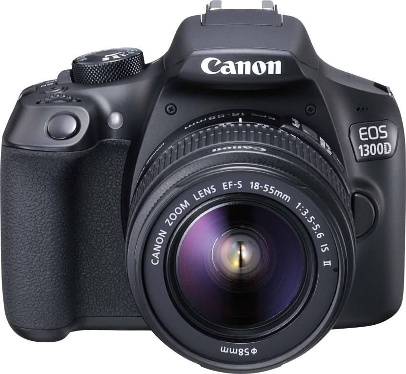 Canon EOS 1300D DSLR Camera Body with Single Lens: EF S 18 55 IS II  16  GB SD Card + Carry Case  Black